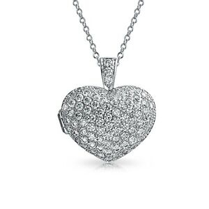 CZ Heart Aromatherapy Essential Oil Perfume Diffuser Locket Necklace