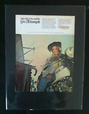 "1969 Triumph Motorcycle Bonneville in saddle""Ready to Display"" bike ad 1968"