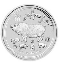 1 oz Silbermünze 2019 Lunar II  Jahr des Schwein Pig (Feinsilber 31,1 g)