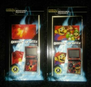 Nintendo Gameboy SP Gamer Graffix Skin 1w/Mario and Friends& 1w/Fiery Space Scen