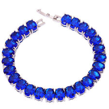 "Silver Tanzanite Women Jewelry Fashion Gemstone Chain Bracelet 7 3/4"" NS1338"