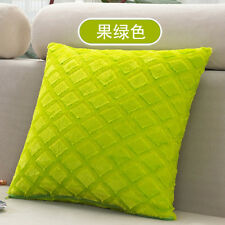 Solid Bright Color Grids Checks Pillow Case Home Sofa Soft Velvet Cushion Cover