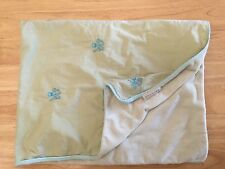 Pottery Barn Kids Baby Blanket Green Blue Octopus Chamois Plush And Cotton Sides