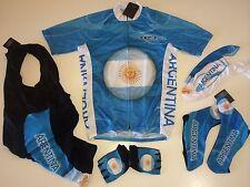 New size L - ARGENTINA Team Cycling Flag Road Bike Set Jersey Bib Shorts Gloves