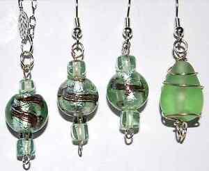 Green Art Glass Wire Wrap Earrings USA ARTISAN MADE FAST USA SHIPPING! #H8