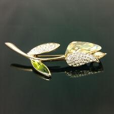 Original Tulip Crystal Pin Brooch With Swarovski Crystals 18K Gold