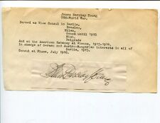 James Barclay Young US Consul Consular Berlin Germany Signed Autograph