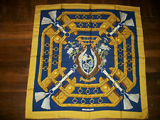 "Large Authentic 35"" Hermes 100% Silk Scarf with Box"