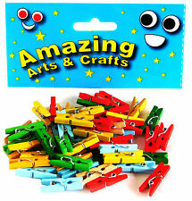 Wooden Mini Craft Pegs Assorted Colours 50