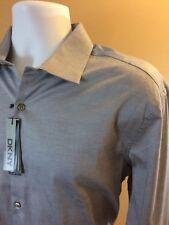 DKNY Slim Fit Stretch Gun Metal Gray Mens Dress Shirt NWT Sz 17.5 32/33