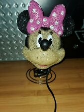 Cute Disney Minnie Mouse Head Lamp Table Rubber? Pink Bow Electric