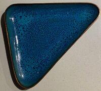 Vintage 60s Triangle Blue Enamel Metal Dish Decorative Mid Century Modern Deyoe