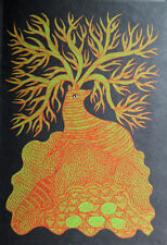 RAM SINGH URVETI - The Tree of twelve horns. Siebdruck, Gond Art Indien.