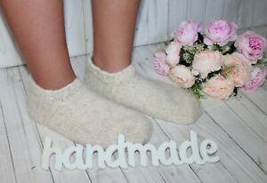 SOCKS short SLIPPERS WOOL HandKnitted handmade thick very warm 7-9 US