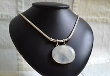 Large Sterling Silver Moonstone Pendant And Chain