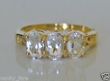 Beautiful 9ct Gold Glacier Topaz Trilogy Ring Size N