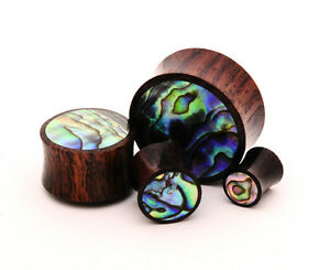Sono Wood with Abalone Inlay Plugs set gauges PICK SIZE organic