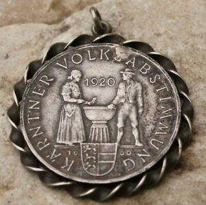 25 schilling en argent monté en pendentif  karntner referendum 1920 - 1960