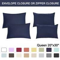 2 Pcs Queen Size Pillowcases Soft 1800 Microfiber Pillow Case Covers 17 Colors