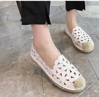 Women's Hollow Out Loafers Espadrilles Canvas Flats Boat Shoes Pumps Slip-On BN