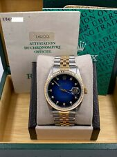 Rolex Datejust 16233 Blue Diamond Dial 18K Yellow Gold Stainless Steel Box Paper