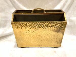 VINTAGE ENGLISH EMBOSSED BRASS COPPER Bronze GOLD Book MAGAZINE RACK ENGLAND