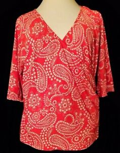 Womens CATO Red White Surplice Blouse Top XL