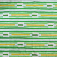 Vintage King Size Pair of Pillowcases Green White Yellow Striped JC Penny Muslin