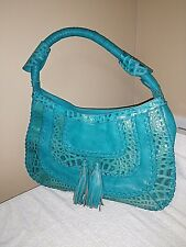 Handbag AQUA Blue Leather Imitation Crocodile Pattern W/Fringe Women's Satchel