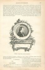 Portrait Médaillon de Jacques Balmat le Mont-Blanc Chamonix Guide GRAVURE 1886