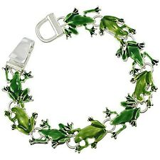Frog Bracelet Chain Link Magnetic Closure Enamel SILVER Turtle Nature Jewelry