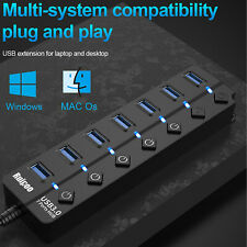 7 Port USB 3.0 Hub Charger LED Indicator and On/Off Switch Power Adapter For PC