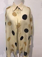Max Mara Yellow Black Brown Large Spot Silk Made In Italy Blouse Jacket XL