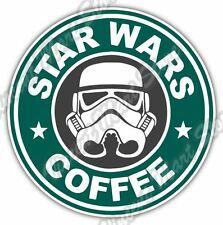 "Star Wars Coffee Starbucks Funny Car Bumper Vinyl Sticker Decal 4.6""X4.6"""