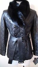 NWT Preston & York Leather Jacket with Genuine Fox Collar Color Size Small