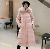 4Color Winter New Korean Slim Down Jacket Women Faux Fox Fur Hooded Coat Ske15