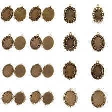 10pc Alloy Vintage Tray Pendant Cabochon Bezel Setting Antique Bronze Blank Oval