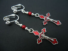 A PAIR TIBETAN SILVER & RED ENAMEL CROSS CRUCIFIX & CRYSTAL CLIP ON EARRINGS.