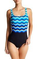 Reebok Blue Thunderstruck One-Piece Swimsuit.  Size10*****NEW*****