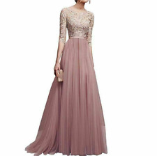 Women Ball Prom Gown Long Cocktail Dress Formal Wedding Bridesmaid Apricot L