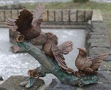 Drei Tauben auf Ast, Bronzefigur, Bronzeskulptur, Gartendekoration