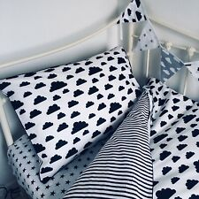 MONOCHROME 100% COTTON Single Bed Duvet Cover Set Black White  clouds stripes