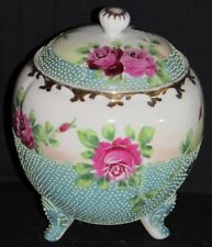 ~Antique Nippon Cabbage Rose Moriage Bead Biscuit Jar Tea Caddy Humidor 1890s~