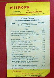 DDR MITROPA Speisekarte Tageskarte vom 29.10.1964 ! RARITÄT ! !