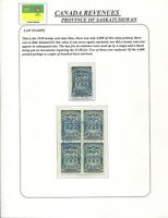 CANADA REVENUE SL47 USED SASKATCHEWAN LAW STAMP SINGLE & BLOCK OF 4