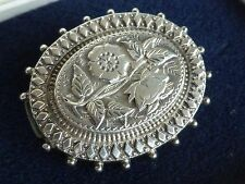 Vintage antique jewellery oval silver rose brooch 1.5 inches