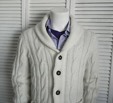 NEW Mens SZ 2XL ALPACA Ivory White Shawl Collar Knit Cable Cardigan Sweater PERU
