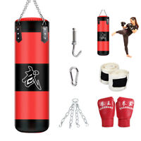 47in Heavy Boxing Punching Bag (Empty) Training Gloves Set Kicking Workout GYM