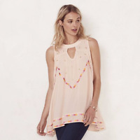 LAUREN CONRAD blush pink Embroidered Keyhole Tunic sizes XS S M NEW