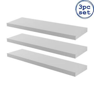 3x Wooden Floating Shelves Wooden Wall Mounted Storage Living Room 80cm White